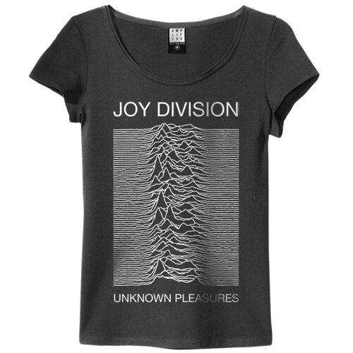 Amplified Girl Shirt Joy Division Unknown Pleasures charcoal