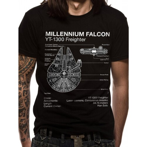Star Wars Shirt Falcon Blueprint black