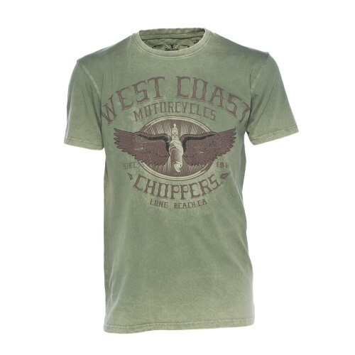 West Coast Choppers Shirt Wings Logo Retro green
