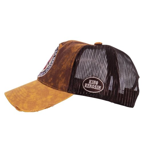 King Kerosin Trucker Cap Used Look El Gallo brown