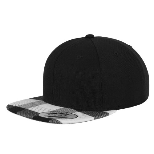 Yupoong Snapback Cap Checked Flanell Peak blk/wht